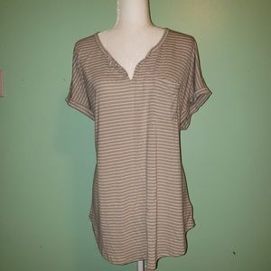 Old Navy Tan and White Stripe Top